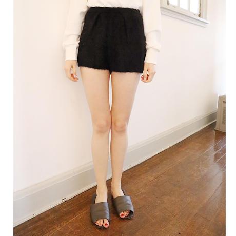 high-waist mohair short pants black