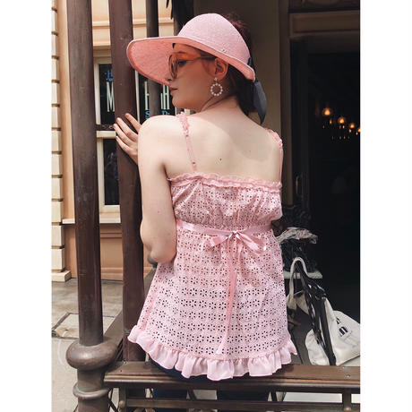 lace frill back ribbon tops pink