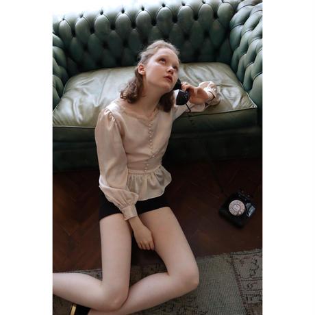 lace satin back ribbon Peplum blouse pink beige