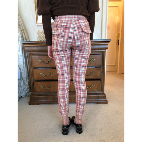 check slim pants pink