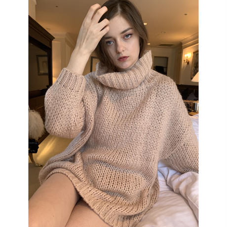 high neck low gauge knit rose pink
