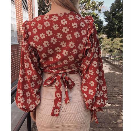 rétro flower bolero blouse red