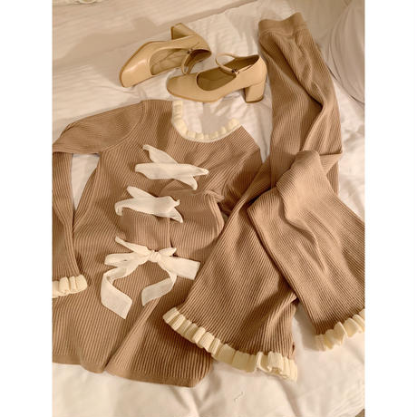 lace up frill rib knit tops beige