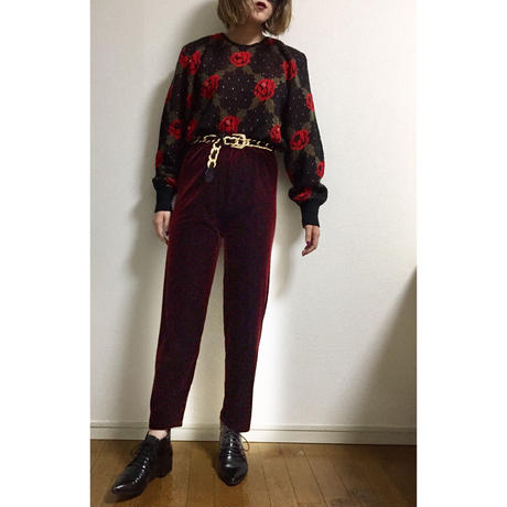 velour  slacks pants wine red