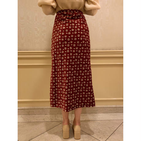 velours flower mermaid skirt red