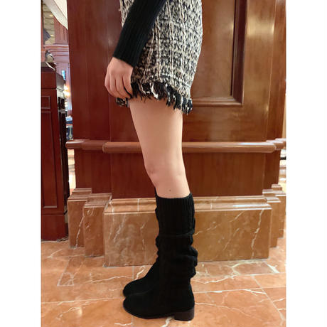 knit knee-high boots black