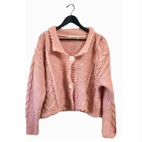 volume pink knit cardigan