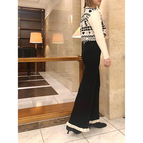 rib knit frill pants black