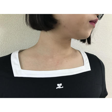 courreges square neck piping tee