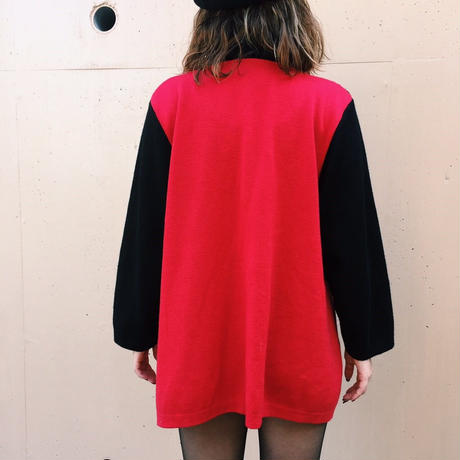 cord design bicolor knit jacket
