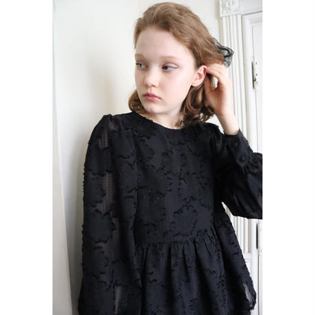 Jacquard see-through double frill onepiece black