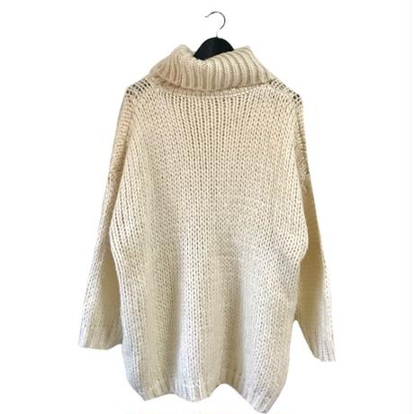 high neck volume knit onepice