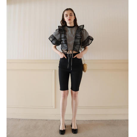 see-through frill lace gingham check Tyrol blouse black