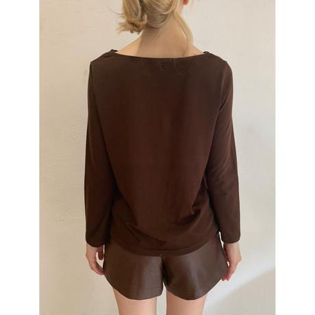 épine embroidery long tee brown