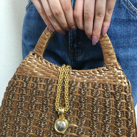 gold chain tweed design handbag brown
