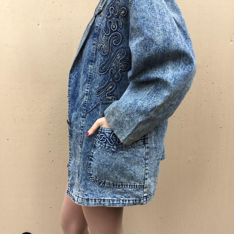 cord design denim jacket