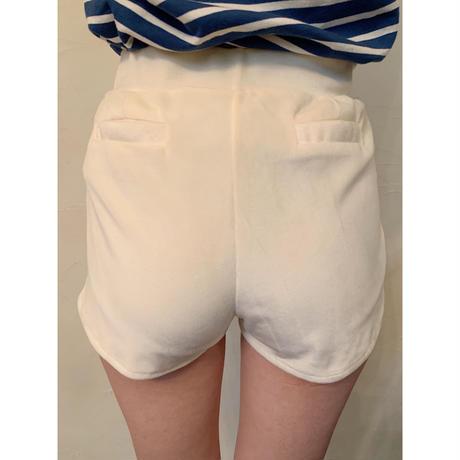 side slit velours short pants ivory