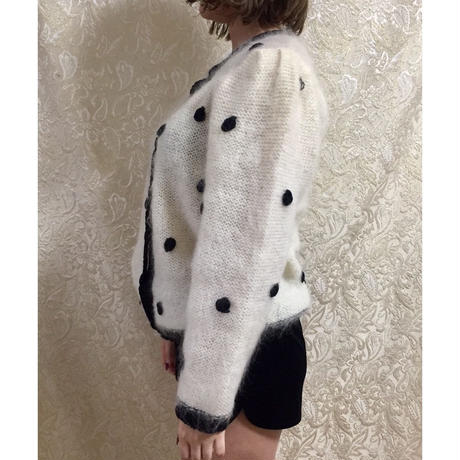 dot monotone knit cardigan