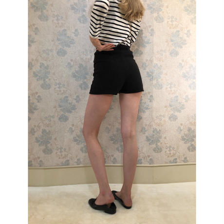 lib summer knit short pants black