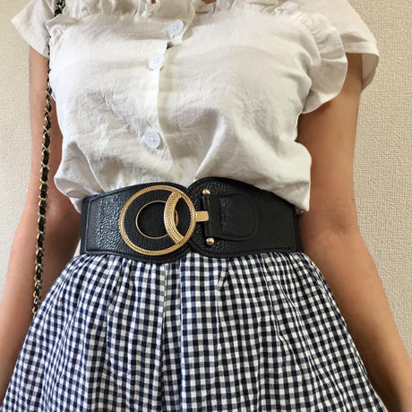 gold round buckle gom belt