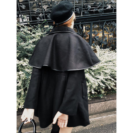 piping cape 2way coat black