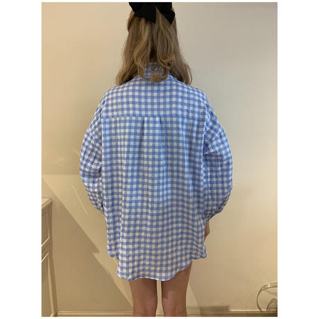 épine embroidery arm volume shirt gingham iceblue