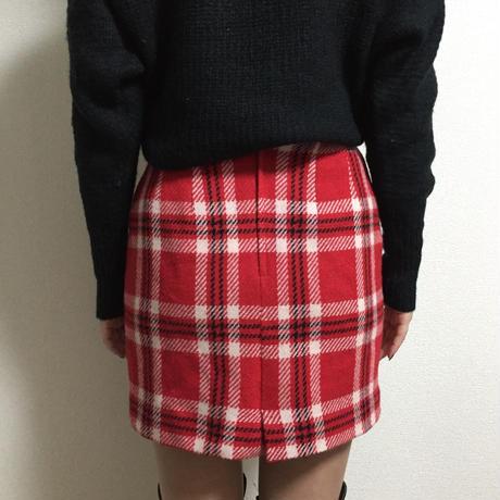 check design mini skirt red