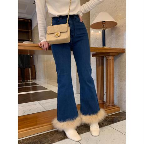 épine bell jeans blue×beige feather fur