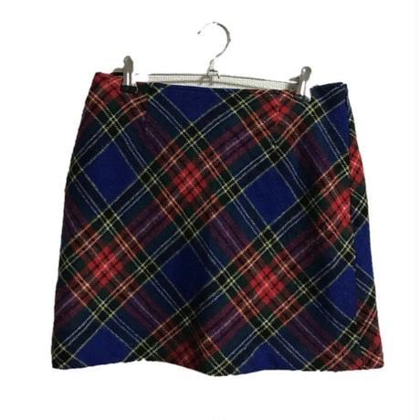 check design mini skirt blue