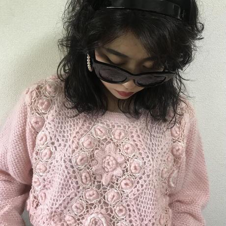 crochet design vintage knit pink