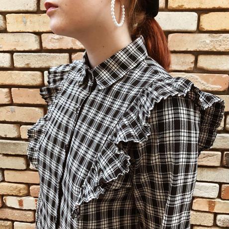 pleats design check blouse