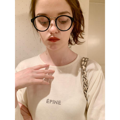 ÉPINE rhinestone logo knit ivory