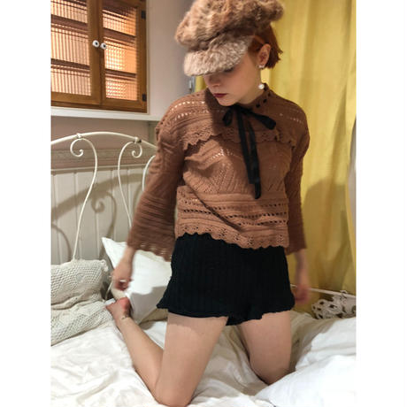 lace-up ribbon design knit brown