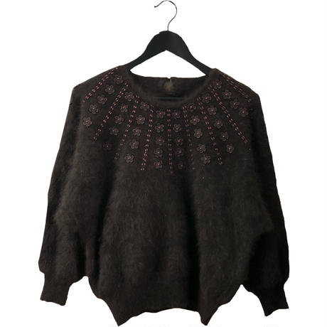 flower bijou design mohair  knit brown
