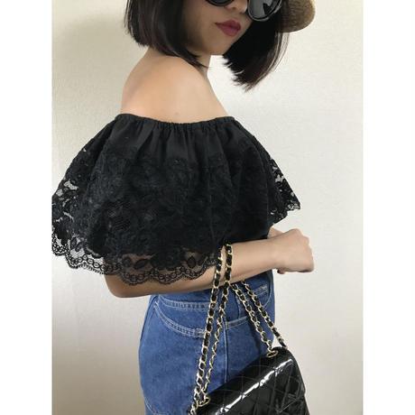 lace design off shoulder tops