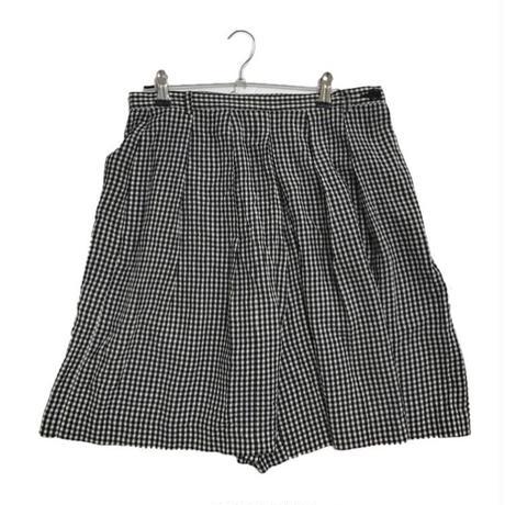 gingham check high-waist short pants