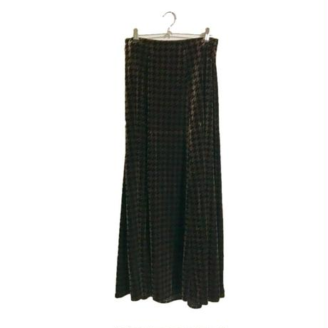 check velours long skirt