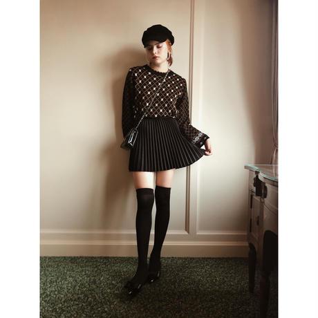 suède pleats mini skirt black