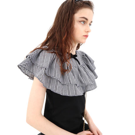 double frill gingham check ribbon onepiece