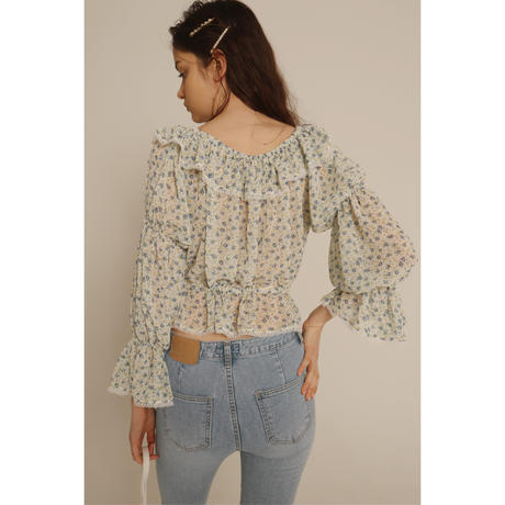 frill lace 2way Tyrol blouse see-through flower