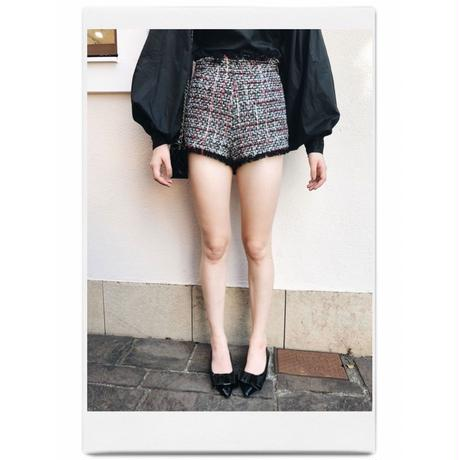 tweed fringe short pants white