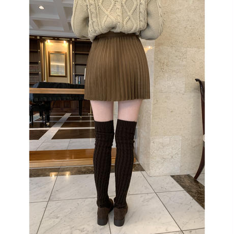 suède pleats mini skirt brown
