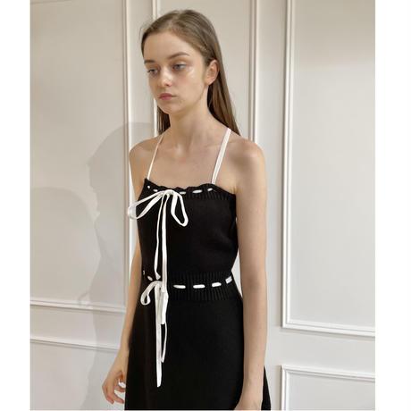 velours ribbon knit onepiece black