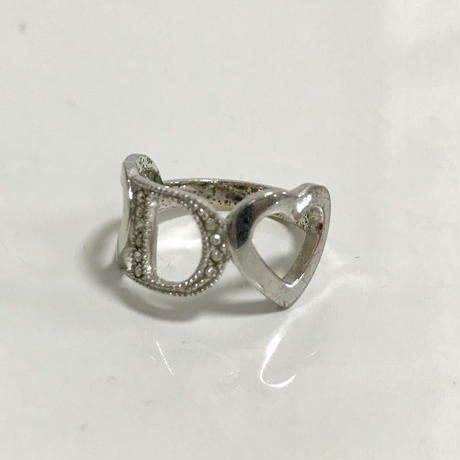 Dior rhinestone Heart design ring