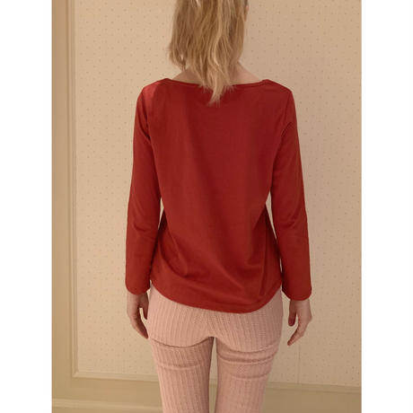 épine embroidery long tee red