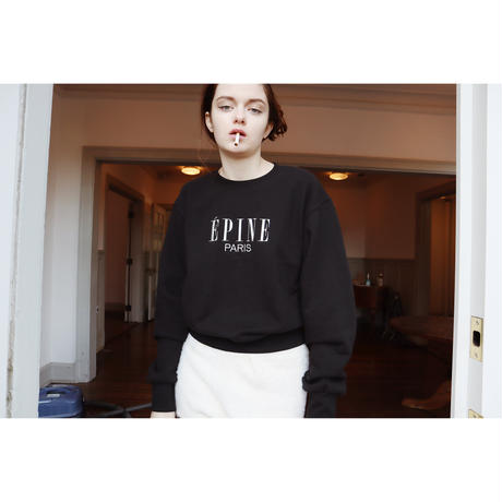 ÉPINE PARIS embroidery sweat black×white