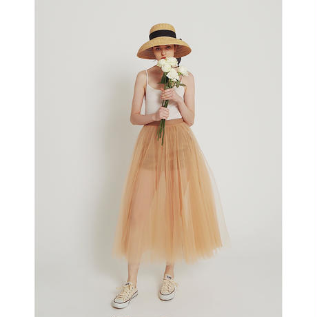 3tulle volume  skirt pink beige