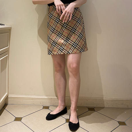 burberry check trapezoid skirt (No.4432)