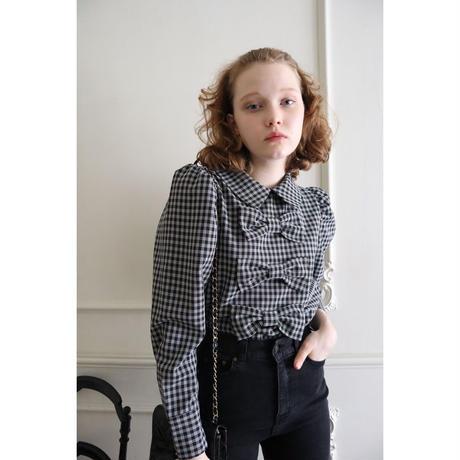big ribbon puff blouse check