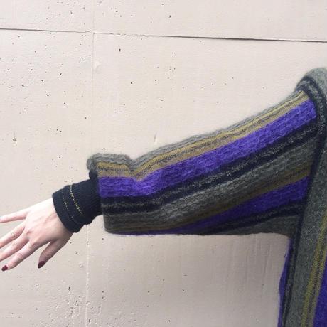 stripe design knit cardigan